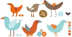 Orange and blue birds set Stock Illustration