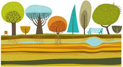 Park trees set - stock illustration