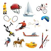 Extreme sport icons set Stock Illustration