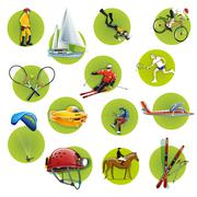 Extreme sport icons set - stock illustration