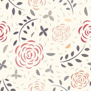 Floral seamless pattern - stock illustration