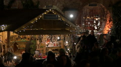 Wooden souvenirs at the Christmas market on Schlossberg in Graz Stock Footage