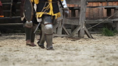 Brave knights preparing for training before fight. Team spirit, togetherness Stock Footage