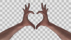 Heart Gesture - White Male Hands - I - Motion Blur - Alpha - 30fps - stock footage