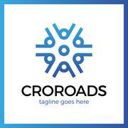 Wheel Crossroad Logo Stock Illustration