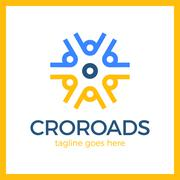 Wheel Crossroad Logotype Stock Illustration