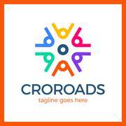 Wheel Crossroad Logotype Stock Illustration