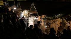 "Night walk at the ""Aufsteirern"" Christmas Market on Schlossberg hill, Graz Stock Footage"