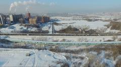 Flying over the city. city bridge. metro bridge. Stock Footage
