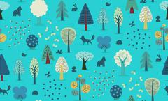 Forest trees seamless pattern - stock illustration