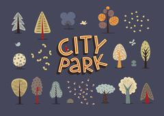 City park set dark Stock Illustration