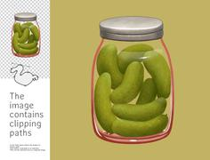 Jar of gherkins, Dodo collection - stock illustration