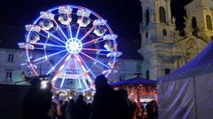 Ferris wheel at Mariahilferplatz in Graz Stock Footage