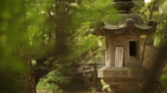 Japanese maple and ancient Japanese stone architecture. Stock Footage