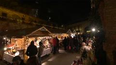 "Admiring the souvenirs at the ""Aufsteirern"" Christmas Market, Graz Stock Footage"