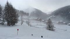 Vallandry ski resort pan Stock Footage