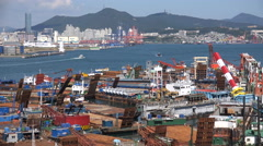 Barges under maintenance in the harbor of Busan in South Korea Stock Footage
