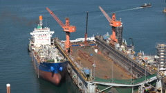 Chemical goods tanker under maintenance at Busan shipyard, South Korea Stock Footage