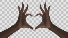 Heart Gesture - Black Female Hands - IV - Sharp - Alpha - 25fps Stock Footage