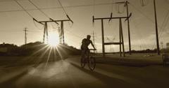 Suburban Neighborhood in evening sun Stock Footage