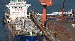 Chemical goods tanker, transportation, construction, shipyard in South Korea Stock Footage