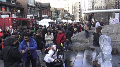 People taking pictures of ice sculptures at Icefest 2016, Toronto Stock Footage