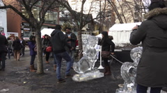 Ice Sculptures on display at Icefest 2016. Toronto Stock Footage