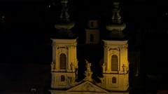 Mariahilferkirche and a ferris wheel at Mariahilferplatz in Graz Stock Footage