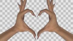 Heart Gesture - White Female Hands - V - Sharp - Alpha - 25fps Stock Footage