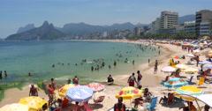 Ipanema Beach in Rio de Janeiro, Brazil Stock Footage
