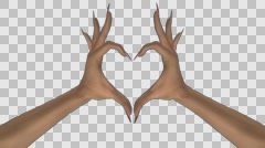 Heart Gesture - White Female Hands - V - Motion Blur - Alpha - 30fps - stock footage