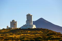 Telescopes of the Astronomical Observatory Izana with Volcano El Teide in the Stock Photos