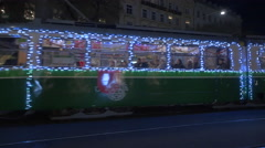 Decorated tram on Christmas in Graz Stock Footage