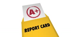 A Plus Report Card Grade Great Score Envelope 4K Stock Footage