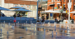 Fountains at the Sundance Square in Downtown Fort Worth Stock Footage