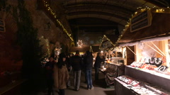 """Walking at the """"Aufsteirern"""" Christmas Market on the Castle hill in Graz Stock Footage"""