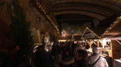 """Many tourists visiting the """"Aufsteirern"""" Christmas Market in Graz Stock Footage"""