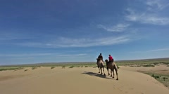 Gobi Desert and Camels Stock Footage