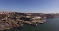 Aerial Footage of Old Abandoned Shipyard in The Golden Horn Stock Footage