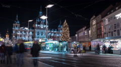 Visiting the Christmas market in Hauptplatz in front of Rathaus, Graz Time lapse Stock Footage