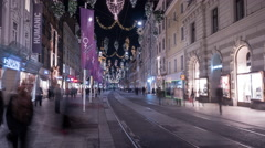 People walking on Herrengasse on Christmas in Graz, Time lapse Stock Footage