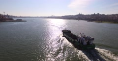 General Aerial View of the Anti Pollution Vessel in The Golden Horn - stock footage