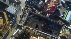 Top View Aerial Shot from a Subway Construction with Crane Stock Footage