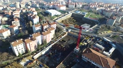 General Aerial Footage of Subway Station Construction with the City View Stock Footage