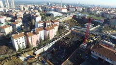 General Aerial View of the Subway Station Construction with the Roads and City Stock Footage