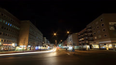 4k Braunschweig inner city night street and road traffic Stock Footage