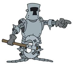 Funny knight with a war axe - stock illustration
