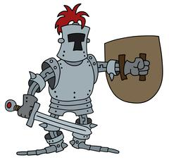 Funny knight with a sword and shield - stock illustration