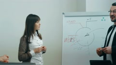 Professional businessman holds presentation in friendly office Arkistovideo