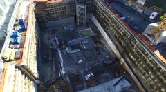 Aerial Footage Flying Over a Subway Construction Stock Footage